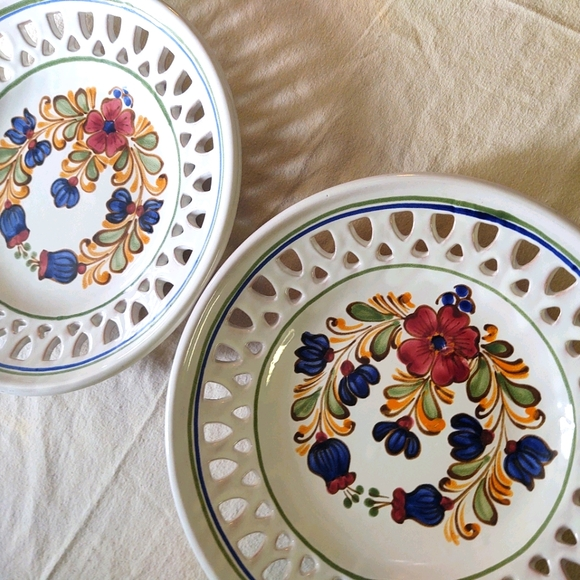Two vintage made in Hungary hand-painted plates